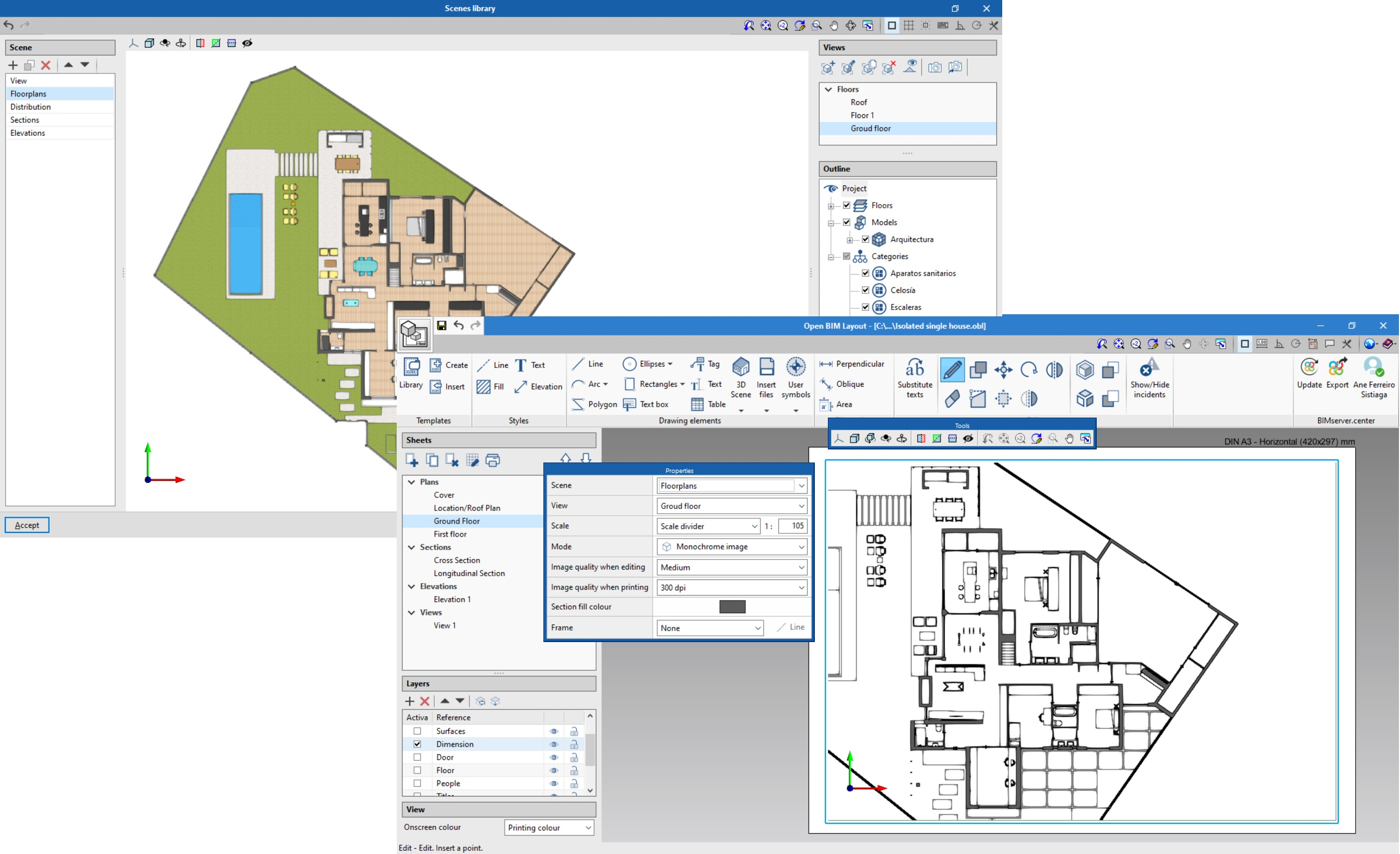 Open BIM Layout. Inserting models in the project: 3D scenes